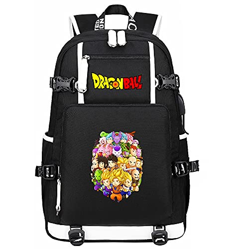 ZZGOO-LL Dragon Ball Son Goku/Vegeta IV Anime Backpack Middle Student School Rucksack Daypack for Women/Men with USB-C