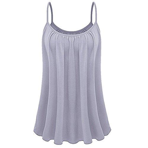 OVERDOSE Sommer Einfarbig Frauen Bluse Shirt Camis Pullis Oberteile Lose Leibchen Damen Einfarbig Chiffon Tank Tops Plus Größe S-6XL (M, K-Grau)
