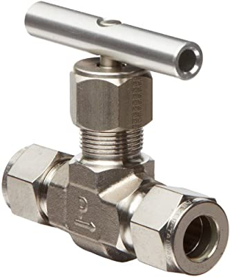 "Parker V Series Stainless Steel 316 Needle Valve, Inline, Hand Wheel, Blunt Stem, 1/4"" A-Lok Compression Fitting by Parker"
