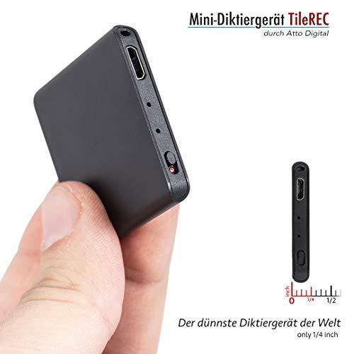 Mini Aufnahmegerät mit Stimmenaktivierung - 145 Stunden - MP3 Rekorder - 24 Stunden Akku - Schlankstes Metallgehäuse - TileREC by Atto Digital