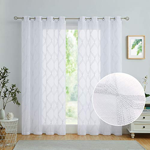 """Variegatex White Sheer Curtains 84 Inches Long for Living Room Bedroom, Grommet Top Glitter Silver Geometric Embroidered on Linen Texture Voile Window Drapes, 54"""" W 2 Panels"""