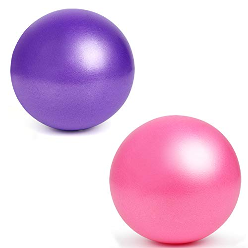 YMWALK Pilates Ball, 2 PCS 25 cm Kleiner Übungsball, Mini Soft Pilates Ball Anti-Rutsch-Anti-Burst-Fitness-Fitnessball Perfekt für Pilates, Yoga, Kerntraining und Physiotherapie (lila und pink)