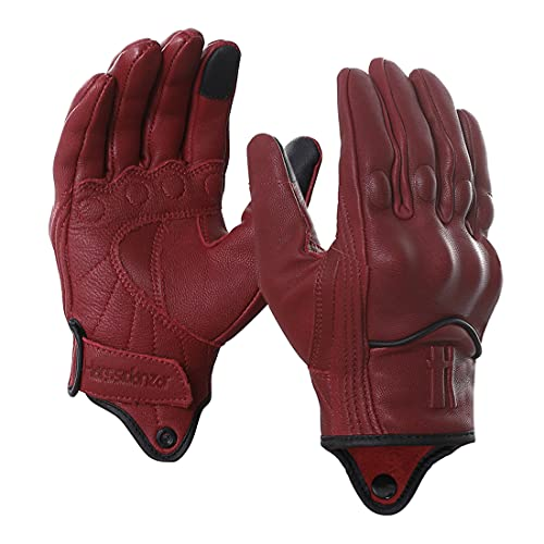 Harssidanzar Motorcycle Gloves for Men,Leather Touch Screen Riding Driving Gloves GM028US ,Oxblood,Size, XL