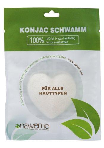 Éponge Konjac Pur en forme de coeur, pour tous les types de peau