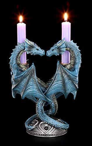 Unbekannt Fantasy Kerzenhalter Drachen Herz mit Drachenköpfen - Dragon Heart by Anne Stokes | Deko-Artilkel, Handbemalt