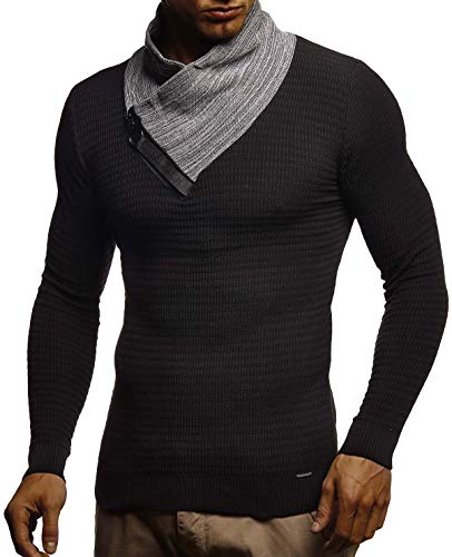 LEIF NELSON Men's Stylish Knit Sweater Sweatshirt | Knitted Turtleneck Pullover | LN1730; XX-Large, Khaki
