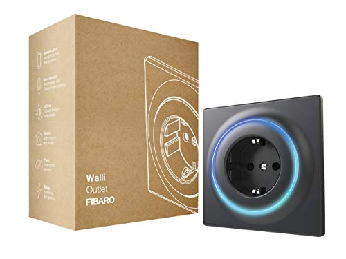 FIBARO Walli Outlet F/Z-Wave Plus Intelligente Steckdose Typ F, Anthrazit, FGWOF-011-8