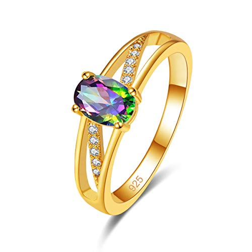 Narica Gorgeous Oval Cut Yellow Gold Plated Rings Rainbow Topaz Band for Women Size 9