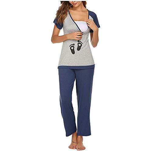 Smonke Frauen Mutterschaft Mutter Brief Druck Kurzarm Stillen Baby T-Shirt Tops + Hosen Pyjamas Set Nachtwäsche Anzug Lady Mom Nachtwäsche Schwarz grau rot S-2XL