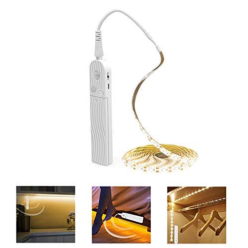 LED Stripes 3m(10 Fuß), PDGROW LED Leiste, LED Lichtleiste, wasserdichtes 5V USB Bewegungssensor LED Licht Streifen, selbstklebend unter Gegenlichtern für Küche, Schrank, Regal - Kaltes Weiß, 1 St