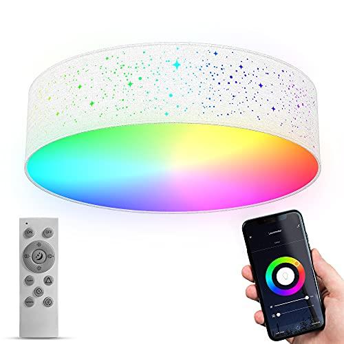 B.K.Licht WiFi LED lámpara de techo inteligente I Ø39 cm I CCT I RGB I App y mando a distancia I regulable I control por voz I iOS & Android I cielo estrellado