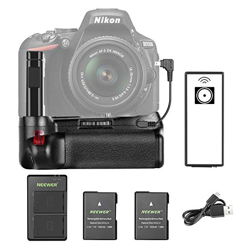 Neewer Professinal Vertical Battery Grip for Nikon D5600 and D5500 DSLR Camera and 2 Pieces 1050mAh EN-EL14 Replacement Li-ion Battery with USB Input Dual Charger
