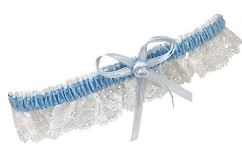 BrautChic® Schmales ELEGANTES weißes Strumpfband für die Braut - Hochzeitsstrumpfband ETWAS BLAUES - Brautkleid Hochzeit - One Size - WEIß/BLAU