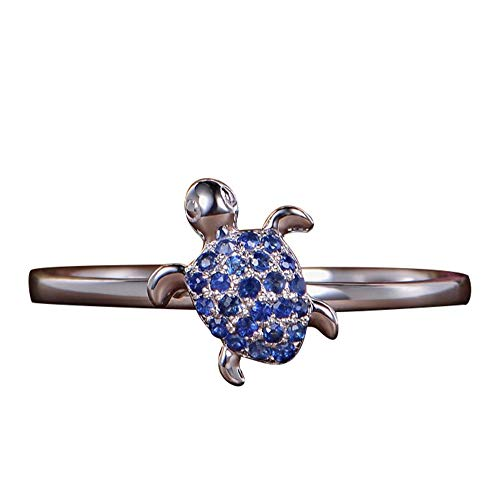 Turtle Ring Sapphire Full Diamond Turtle Ring Cute Cubic Zirconia Stackable Ring Animal Stacking Rings for Women Girls Gifts(SIZE 9)