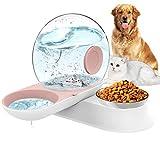 LeYoMiao Distributeur d'eau automatique 2 en 1 pour animaux domestiques et gamelles de nourriture, gamelle pour chat et chien en forme d'escargot sans déversement 2,8 L (rose)