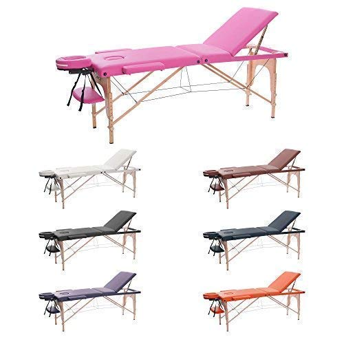 H-ROOT 3 Section Table de Massage Grande Canapé Lit Plinthe de Thérapie Salon Tatouage Reiki Massage Suédois Thérapeutique (186cm x 60cm x 62-83cm, Rose)