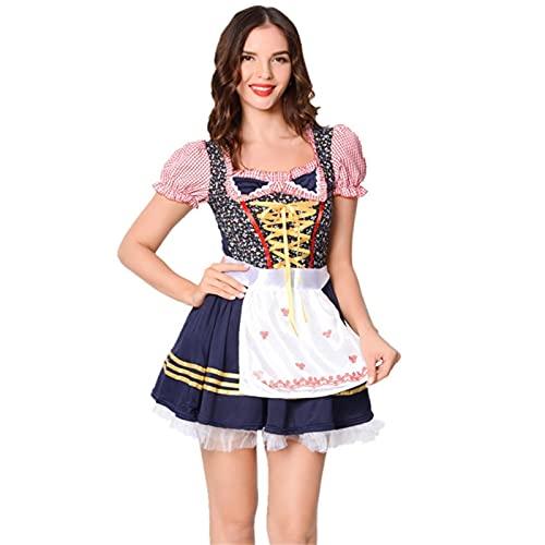 UKKO Oktoberfest Vestido Tradicional Traje Tradicional Oktoberfest Maid Disfraz Dirndl Camarera Vestido Msica Festival Ropa-Brown,S