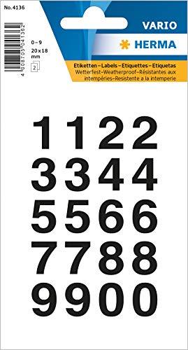 Herma 4135 letters, transparante folie cijfers 20 x 18 mm zwart