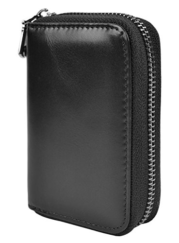 Yuhan Pretty Womens Card Holder Wallet RFID Blocking Leather Zipper Small Purse (Black (Oil Leather))