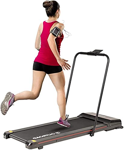 Outroad 2 in 1 Electric Folding Treadmill, Under Desk Treadmill 1.5HP Treadmill with LED Display, Ipad/Phone Holder and Remote Control, Walking Jogging Machine for Home Office Use,Black