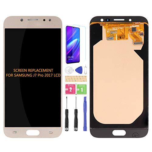 Para Samsung Galaxy J7 Pro 2017 J730 J730F/DS J730G/DS J730GM/DS Pantalla LCD Reemplazo Digitalizador Cristal, libre película templada, pegamento y herramientas (oro)