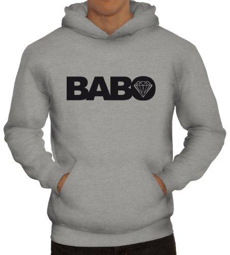 Shirtstreet24, BABO Diamond, Boss Anführer Chef Herren Kapuzen Sweatshirt - Pullover Hoodie, Größe: M,Graumeliert