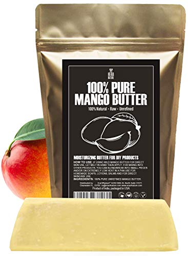 Raw, Unrefined Mango Butter Bar, 8 oz - Amazing Moisturizer, Use Alone or in DIY Body Butters, Soaps, Lotions and lip balm - Natural, Pure and Fresh (USA) Hera Nature