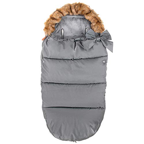SPRINGOS 2-in-1 Winterfußsack und Babyschlafsack L90 x B45 cm, wasserabweisend | Für Kinderwagen, Buggy oder Schlitten | Abnehmbarer Pelzbesatz, Deko-Schlaufe, mit Zipper, innen mit Fleece gefüttert
