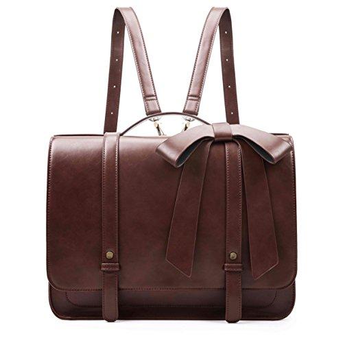 ECOSUSI 14' Laptop Messenger Briefcase Women Vintage Bag Ladies Satchels Backpack with Bow