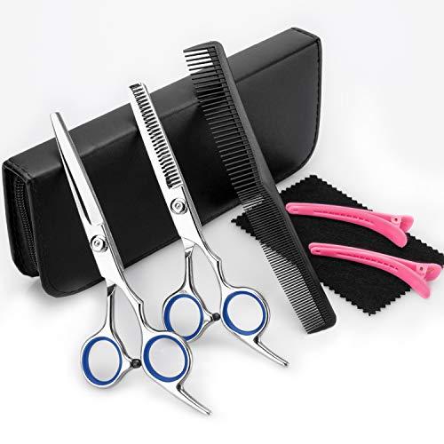 2020 Professionell Haarschere Set,Friseurscheren,Haarschere,Haarschneideschere,Licht Friseurscheren mit Einseitiger Mikroverzahnung,Perfekter Profi Effilierschere für Damen,Herren und Kinder