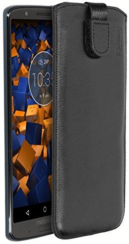 mumbi Echt Ledertasche kompatibel mit Motorola Moto G6 Plus Hülle Leder Tasche Hülle Wallet, schwarz