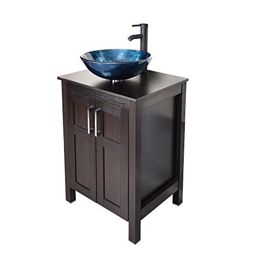 Puluomis 24 Inches Traditional Bathroom Vanity Set in Dark Coffee Finish, Single Bathroom Vanity with Top and 2-Door Cabinet, Tempered Glass Round Sink Top with Single Faucet Hole