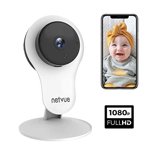 Camera Surveillance WiFi Interieur 1080P NETVUE, avec Vision Nocturne Infrarouge IP Cam 2 Voies de Alerte de Detection Humaine , Compatible avec Alexa Echo Show, 7 x 24h Cloud Storage