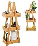 DuneDesign 100% Bambus Badregal mit 3 Körben - 30x18x80 Küche Bad WC - Holz Regal für Badezimmer