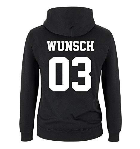 Comedy Shirts - Wunsch - Kinder Hoodie - Schwarz/Weiss - Gr. 134/146