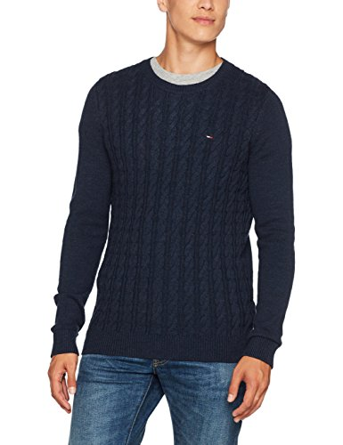 Tommy Jeans Herren Basic Cable Langarm Regular Fit Pullover Blau (Black Iris 002) Medium