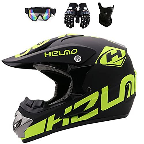 Casco de motocicleta, unisex para adultos/jóvenes para niños todoterreno para motocross para montar en bicicleta con ventilación de aire ampliada,guantes y máscara facial