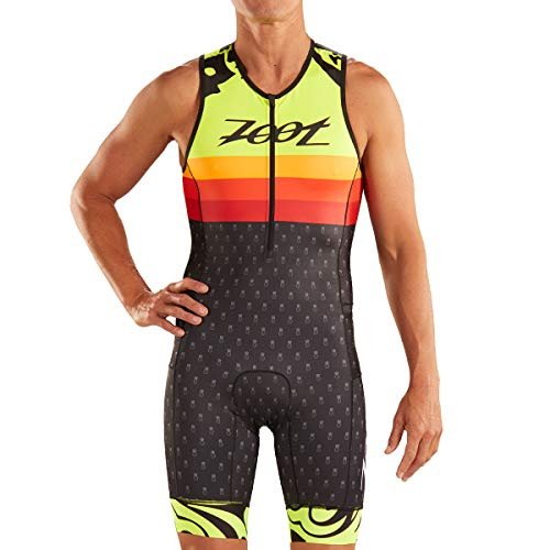 Zoot Tuta da Gara di Triathlon Maschile Design Ali'I Senza Maniche, Elementi Riflettenti, SPF 50+, Due Tasche Posteriori e Cerniera Frontale da 15 cm Dimensione S