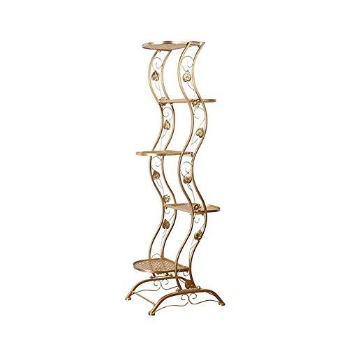 YXB Bloem Stands Metalen Plant Stand Binnen Vloer staande Bloem Ladder Display Rack Tuin Decoratieve Plank,Goud