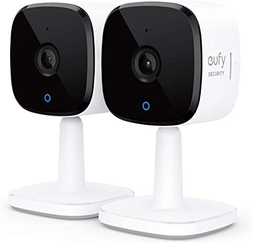 eufy Security, 2K Indoor Cam 2-Cam Kit, Plug-in Security Indoor Camera with Wi-Fi, IP Camera, Human and Pet AI, Works with Voice Assistants, Night Vision, Two-Way Audio, HomeBase Not Required.