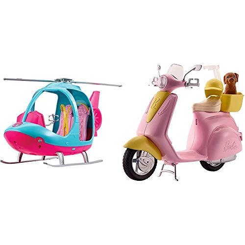 Barbie FWY29 Helicopter, Pink and Blue, with Spinning Rotor, Multicolored & FRP56 ESTATE Mo-Ped Motorbike for Doll, Pink Scooter, Vehicle, Multi-Colour