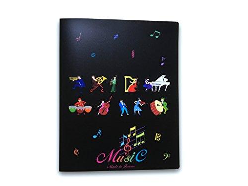 Musik Themed 20Taschen Kunststoff Ordner Sichtbuch Soft Cover–Musik Instrumente Design