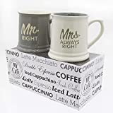 Mug - Mrs.Always Right & Mr.Right - Set of 2 Coffee Mugs Gift Boxed - a great marriage or couples Gift Set 10 ounce - Best Wedding / Anniversary Gift Idea