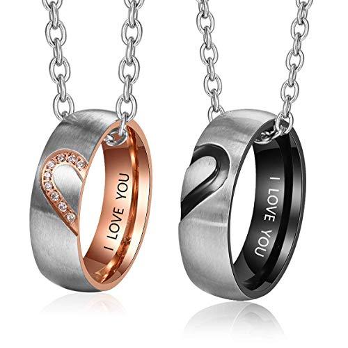 Lam Hub Fong Personalisierte Paar Ringe Herren und Damen Hochzeitsringe Hochzeit Verlobungsring Set für Paare Partner Edelstahlringe (Ringpaar mit Kette)