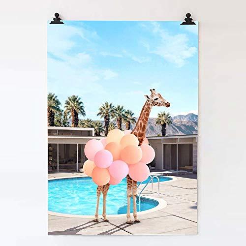 LWJZQT Abstracte dierenposter mode giraffe ballon poster en prints moderne kunst afbeeldingen Nordic canvas schilderij decoratie voor thuis
