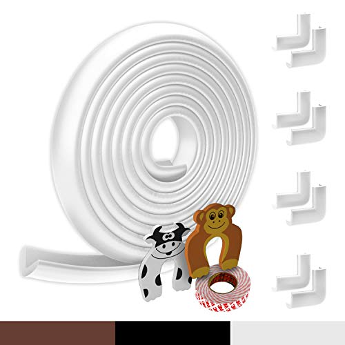 Kantenschutz Baby aus Schaumstoff | Original Hoffenbach® Germany | schwarz, braun, weiß | 6,2m Tischkantenschutz, 8x Eckenschützer Eckenschoner, 2x Fingerschutz