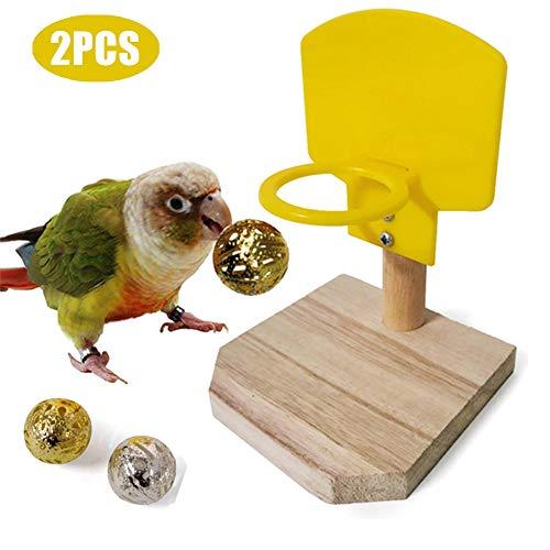 PETVE Vögel Lernspielzeug 2PCS, Mini-Korb Papagei Training Intellektuelle Entwicklung Spielzeug, Vogelschießen Haustier Basketball-Ständer, Vogel Fähigkeiten Desktop-Spielzeug