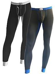 Cadmus Men's Long Thermal Underwear Fleece Lined Winter Base Layering,9609,Black & Grey,US L,Tag 2XL