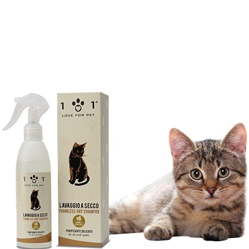 Shampoo a Secco Naturale e Vegetale per Gatto, 250ml - Senza Bisogno di Acqua o Risciacquo - per Un Lavaggio a Secco Efficace, Linea 101