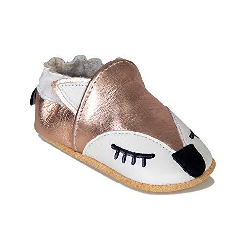HMIYA Weiche Leder Krabbelschuhe Babyschuhe Lauflernschuhe mit Wildledersohlen für Jungen und Mädchen(12-18 Monate,Gold)